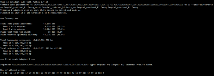 关于RNA-Seq数据去接头(Adapter)